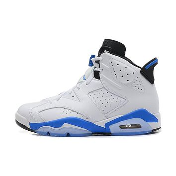 Air Jordan 6 white/blue Basketball Shoes 36-40