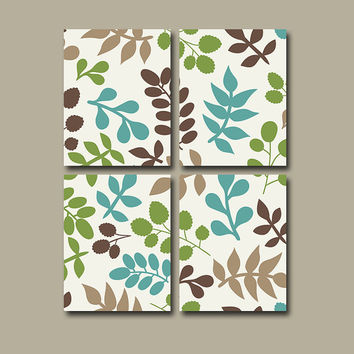 Flourish Wall Art Canvas Pottery Choose Colors Bedroom Decor Blue Beige Tan Green Leaf Floral Set of 4 Prints Bathroom Nursery Decor Bedding