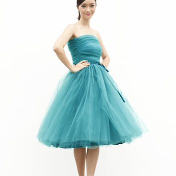 Tulle Skirt Tea length Tutu Skirt Elastic Waist tulle tutu Princess Skirt Wedding Skirt in Turquoise - NC508