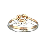 Love Knot Hammered Ring - Mix Metals
