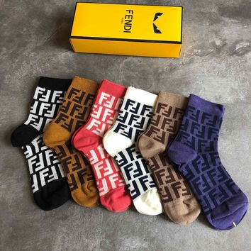 Fendi Fashion 6 Pairs Per Set Sock Style #229