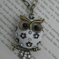 Free shipping- Owl necklace- White owl necklace- Painted owl- Large owl necklace- Antique brass owl- Owl and crystal necklace