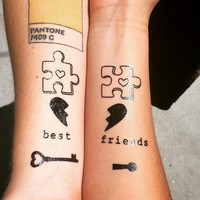 Cute Friendship BFF Sisters Temporary Tattoos with Infinity Signs