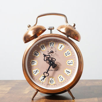 Copper Metal Vintage Alarm Clock Wind Up