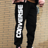 Converse winter new couple models casual wild thick warm pants black