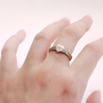 love ring- Faceted Heart Ring in Stainless Steel - Modern Design 3D Printed, rustic. Ready to ship