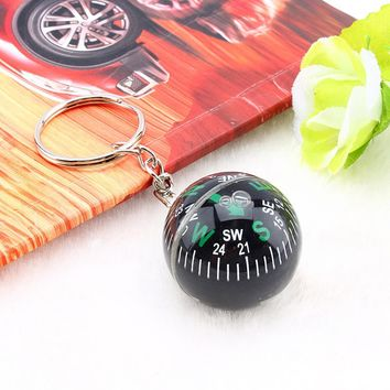 Outdoor Survival 28mm Compass Ball  Keychain Liquid Filled Compass For Hiking Camping Travel