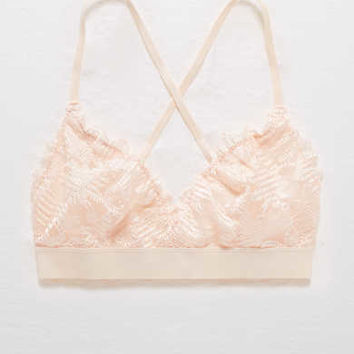 Aerie Shine Embroidery Triangle Bralette, Faded Neon Orange