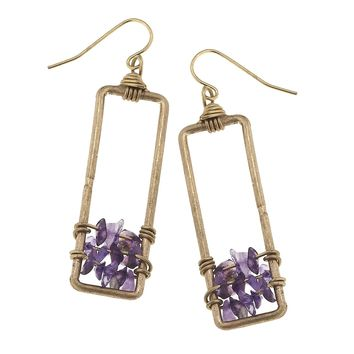 Worn Gold Rectangle Wire Wrapped Chip Earring Amethyst