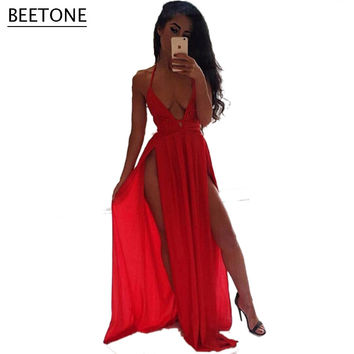 Deep V Neck Strap Backless Bandage Long Dress Halter Party Dress 2016 Sexy High Slit Elegant Women Dress Vestido De Festa Hot