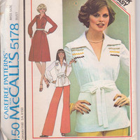 70s vintage pattern for long sleeved, pullover tunic or dress with bodice tucks and wide belt misses size 14 McCalls 5178 UNCUT