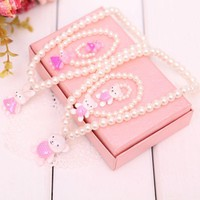 2018 Pearl Hot Sale Party Round Trendy Jewelry Children Girls Princess Baby Beads Necklace&bracelet&ring Set Gift New