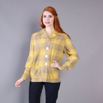 Reserved...50s WOOL 49er JACKET / 1950s Gray & Yellow PENDLETON Plaid Jacket, s-m