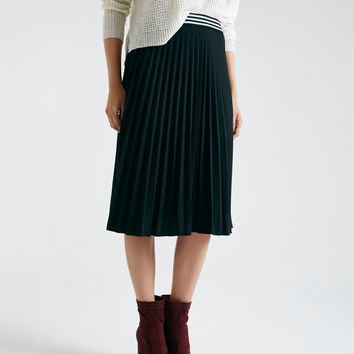 Pleated Midi Skirt With Striped Waistband | Wet Seal