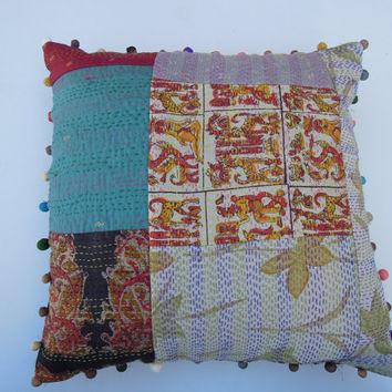 Handmade Silk Sari Kantha Patchwork Cushion Cover Embroidered Indian Decorative Throw Pillow Cover Soft Furnishing Thanksgiving Gift