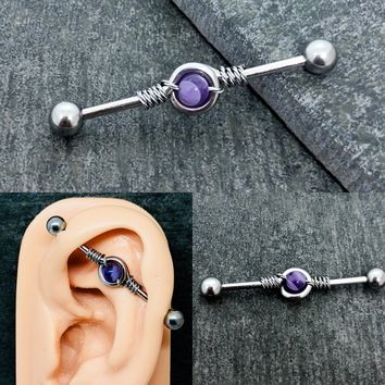 Wire wrapped stainless steel Industrial barbell 14 gauge with Amethyst bead
