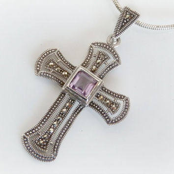 Vintage Sterling Silver Cross Necklace - Purple Amethyst Pendant - Gothic Marcasite Pendant - Christian Jewelry Gifts - 16 inches