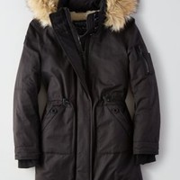AEO Long Parka , Dark Maple | American Eagle Outfitters