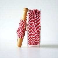 Red & White Twisted Rope Ribbon 1/16 Inch 10 yards Holiday Wrapping Twine