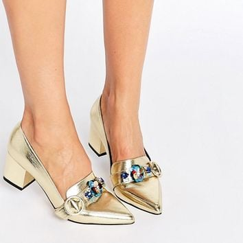 ASOS SMOKIE Embellished Heeled Loafers at asos.com