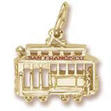 San Francisco Cable Car Charm in Yellow Gold Plated