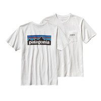 Patagonia Men's P-6 Logo Cotton Pocket T-Shirt- White