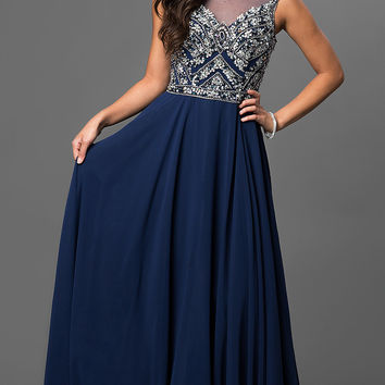 Sheer Back Floor Length Jewel Embellished Dress