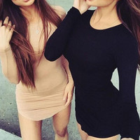Women's Long Sleeve Bodycon Party Evening Cocktail Mini Short Dress