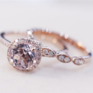 Morganite Wedding Set - VS 7mm Pink Morganite Ring w/ Matching Band Wedding Ring Set 14K Rose Gold Morganite Ring Diamond Engagement Ring