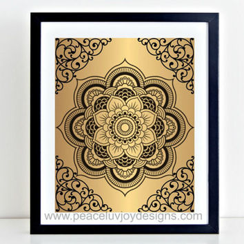 Mandala Printable, 8x10, Instant Download, Mandala Wall Prints, Gold Wall Decor, Lotus Flower Mandala, Office Wall Decor, Gift For Her