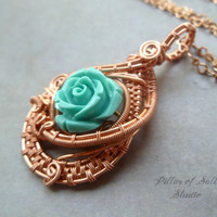 Wire Wrapped jewelry handmade, wire wrapped pendant necklace, copper jewelry, wire jewelry, turquoise coral rose, woven wire jewelry