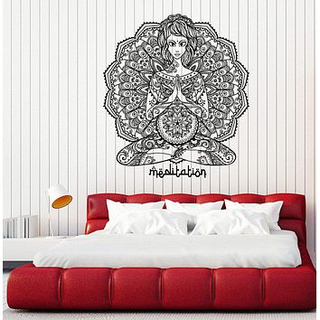 Vinyl Decal Wall Sticker Oriental yoga mandala meditation indian tattoos Unique Gift (n737)