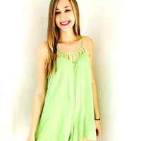 Glow In The Night Playsuit- Lime Green
