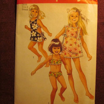 SALE Uncut 1960's Simplicity Sewing Pattern, 8272! Size 6 Girls/Kids/Child/Bikini Swimsuits/Swimsuit Cover-up/Bikini Tops & Bottoms/Bathing