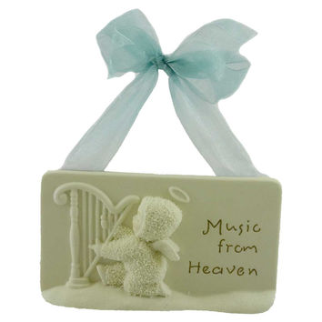Dept 56 Snowbabies MUSIC FROM HEAVEN PLAQUE Porcelain/Ribbon Angels Harp 67839