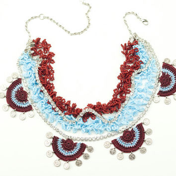 Crochet Beaded Statement Necklace / Rhinestone Statement Necklace / Burgundy Blue/ Swarovski Elements / Boho Chic / Fiber Art