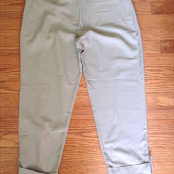 """NEW """"Eileen Fisher""""Khaki"""" Colored 100% Organic Cotton Easy Zip Pants (Size S)"""