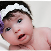 Crochet Baby Girl Headband with purple crochet flower aplique
