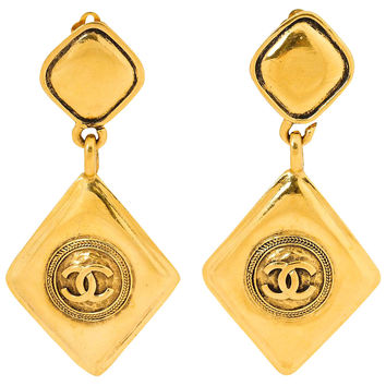 Chanel Logo Diamond Dangle Earrings