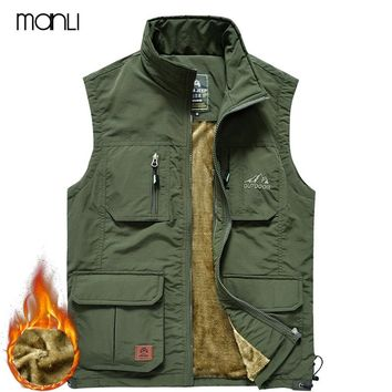MANLI Men Trekking Hiking Vests Summer Thick Mesh Waistcoat Loose Multi-pockets Collarless Working Photography Winter Vest Male