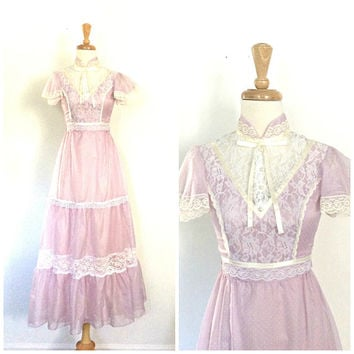 Vintage 1960s Gown - swiss dot - lavender wedding dress - bridesmaid - cotillion - ball gown - XS