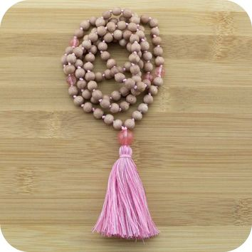 Hand Knotted Philippine Rosewood Mala with Cherry Quartz