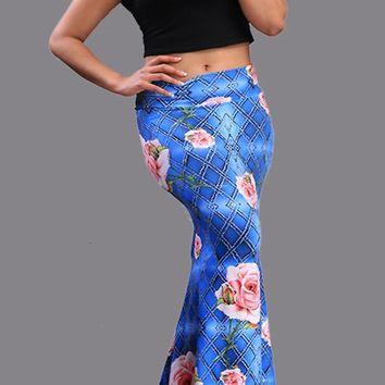 Blue Flowers Print Plaid Elastic Waist High Waisted Floor Length Skirt