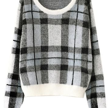 Plaid Mohair Sweater - OASAP.com