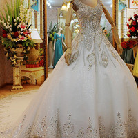 Luxury Crystal Wedding Dresses Tank Cathedral 2015 V neck Crystal Back Garden Bridal Gowns vestido de noiva Robe De Mariage-in Wedding Dresses from Weddings & Events on Aliexpress.com | Alibaba Group
