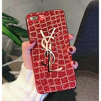YSL Popular Women Delicate Shiny Diamond Metal Letter All-Inclusive iPhone Phone Cover Case For iphone 6 6s 6plus 6s-plus 7 7plus iPhone8 iPhone X Red I12787-1