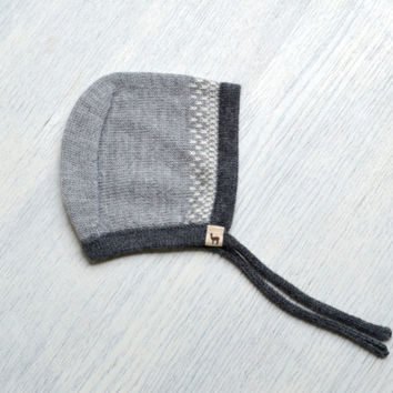 Baby cap / gray / charcoal / ivory / navy hat / baby children / alpaca wool baby cap / knit baby hat / baby bonnet