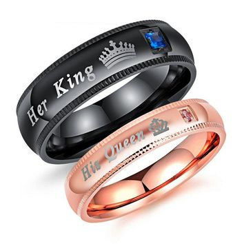 His Queen Her King Rhinestone Stainless Steel Couple Rings for Lovers Matching Wedding Band Set Valentine Gift Jewelry