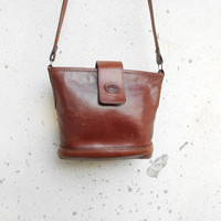 Vintage Leather Bag THE POINT Leather Crossbody Purse / Small / Gift for Her
