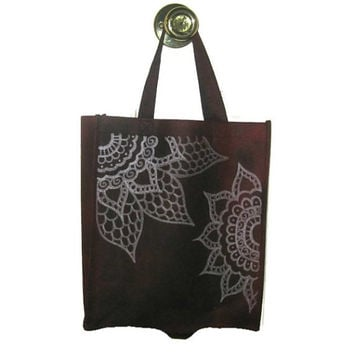 Tote Bag Hand Decorated Henna Flower Design Silver White Deep Burgundy Red Both Sides Decorated
